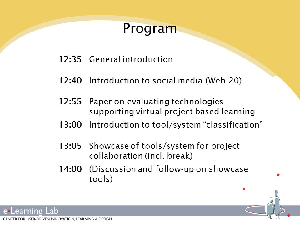 Showcase of tools/system for project collaboration -Sharing of ressources -Social bookmarking (Delicious, Digg) -Photos: Flickr etc.