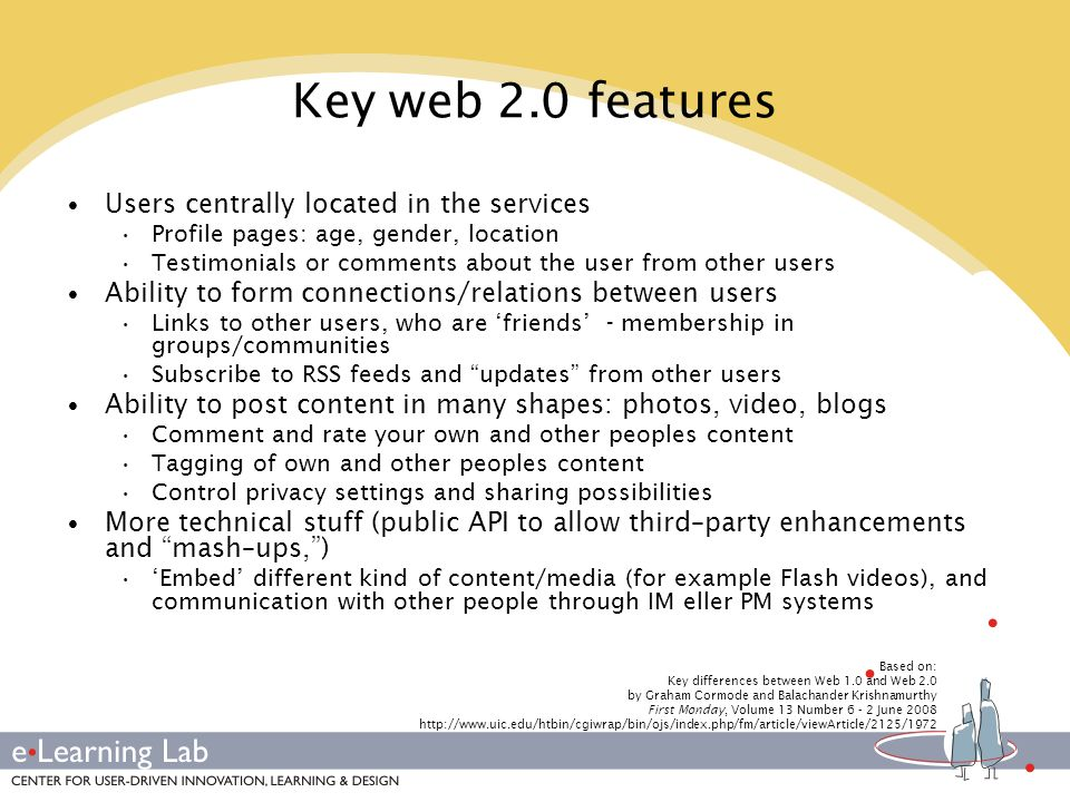 Personalized resource centre Web-desktop/portal Individualized, privatized Individual setup of currents/streams and applications