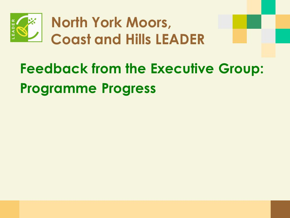 North York Moors, Coast and Hills LEADER Feedback from the Executive Group: Programme Progress