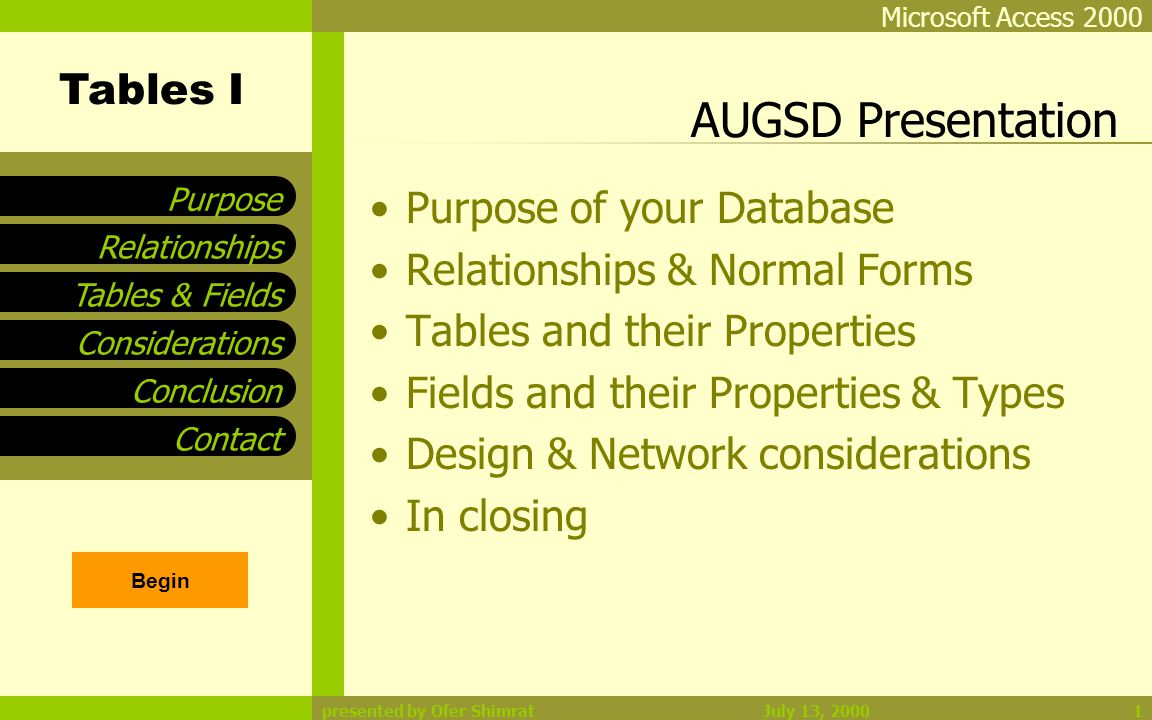 Tables I Tables & Fields Considerations Conclusion Contact Relationships Purpose Microsoft Access 2000 July 13, 2000presented by Ofer Shimrat2 Purpose of your Database Who will be using this Database What information will Database store How will the Database be Used Systems Analysis Sketch out Reports as Output Gather Paper Forms being used Gather Electronic Files being used Requirements Development