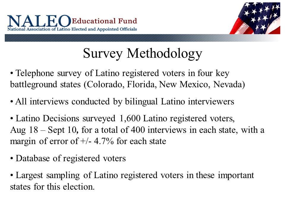 Survey Methodology Telephone survey of Latino registered voters in four key battleground states (Colorado, Florida, New Mexico, Nevada) All interviews conducted by bilingual Latino interviewers Latino Decisions surveyed 1,600 Latino registered voters, Aug 18 – Sept 10, for a total of 400 interviews in each state, with a margin of error of +/- 4.7% for each state Database of registered voters Largest sampling of Latino registered voters in these important states for this election.