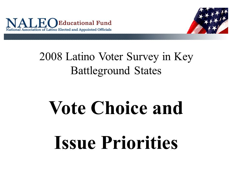 2008 Latino Voter Survey in Key Battleground States Vote Choice and Issue Priorities