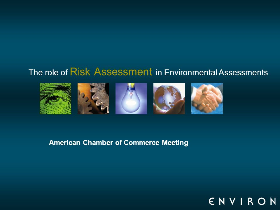 The role of Risk Assessment in Environmental Assessments American Chamber of Commerce Meeting