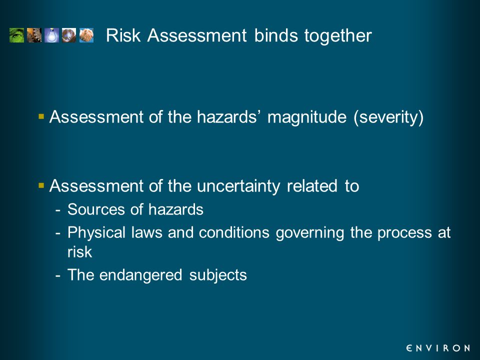 Risk Assessment binds together  Assessment of the hazards' magnitude (severity)  Assessment of the uncertainty related to -Sources of hazards -Physical laws and conditions governing the process at risk -The endangered subjects