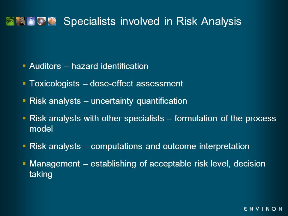 Specialists involved in Risk Analysis  Auditors – hazard identification  Toxicologists – dose-effect assessment  Risk analysts – uncertainty quantification  Risk analysts with other specialists – formulation of the process model  Risk analysts – computations and outcome interpretation  Management – establishing of acceptable risk level, decision taking