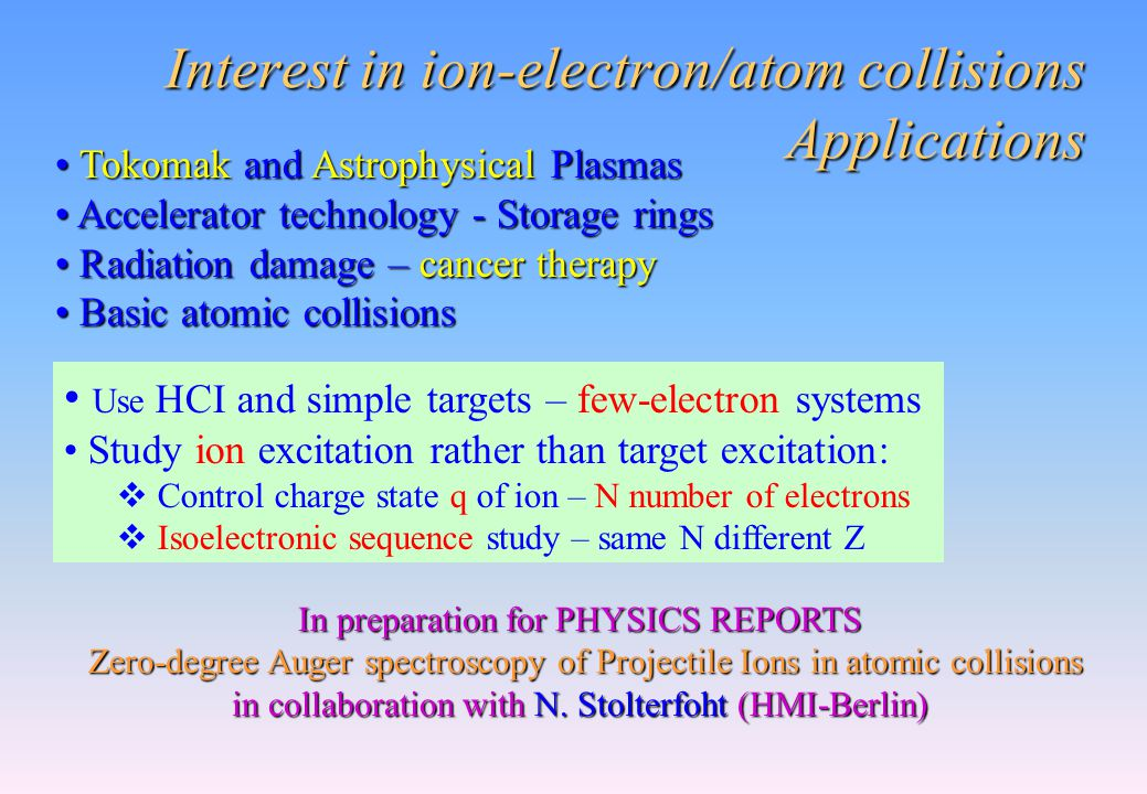Interest in ion-electron/atom collisions Applications Tokomak and Astrophysical Plasmas Tokomak and Astrophysical Plasmas Accelerator technology - Sto