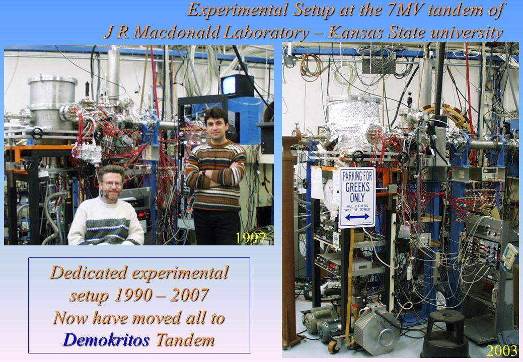 Experimental Setup at the 7MV tandem of J R Macdonald Laboratory – Kansas State university 1997 2003 Dedicated experimental setup 1990 – 2007 Now have moved all to Demokritos Tandem