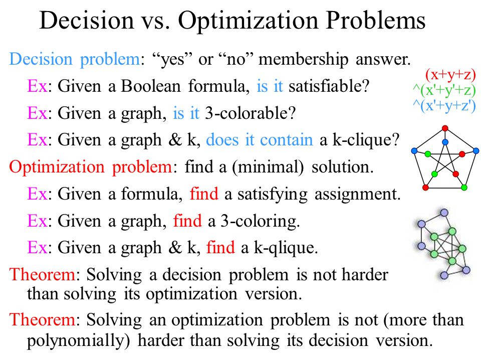Decision vs. Optimization Problems Decision problem: yes or no membership answer.
