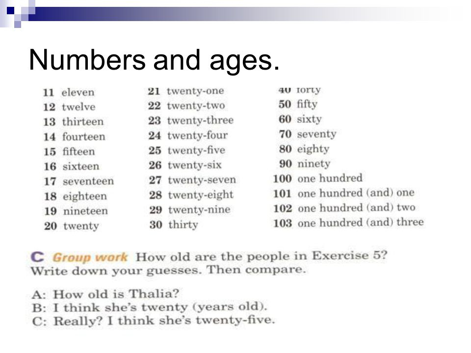 Numbers and ages.