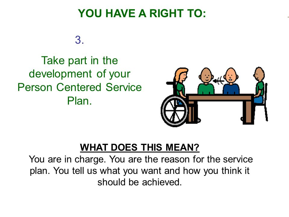 3.Take part in the development of your Person Centered Service Plan.