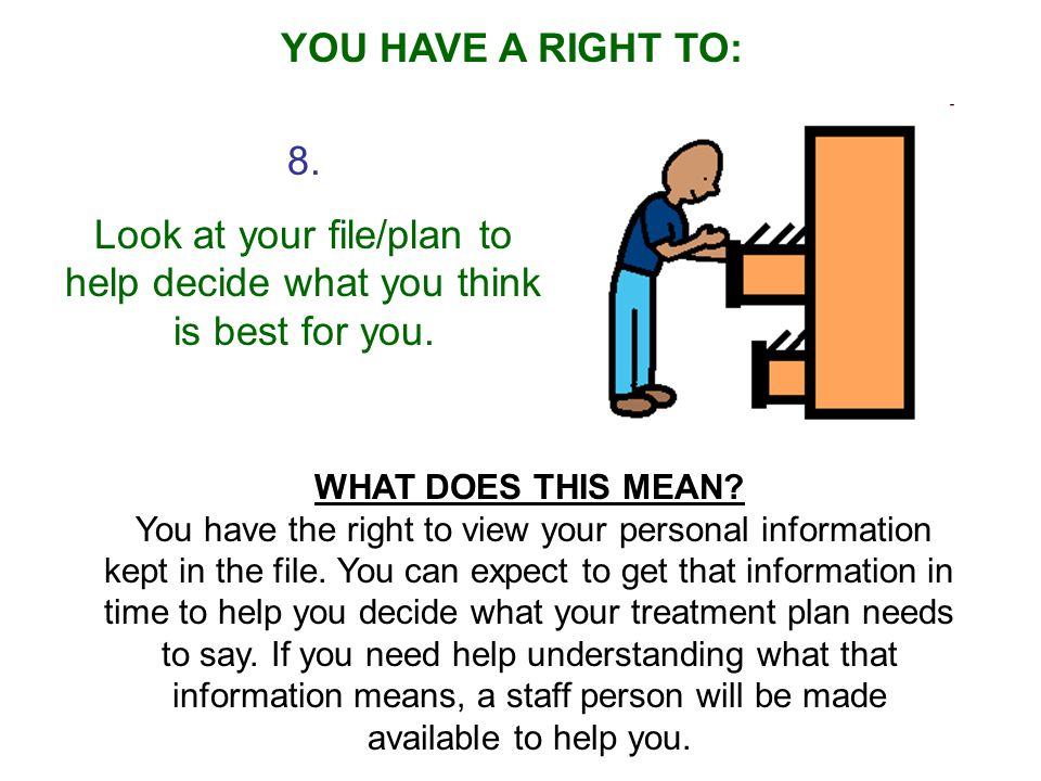 8.Look at your file/plan to help decide what you think is best for you.