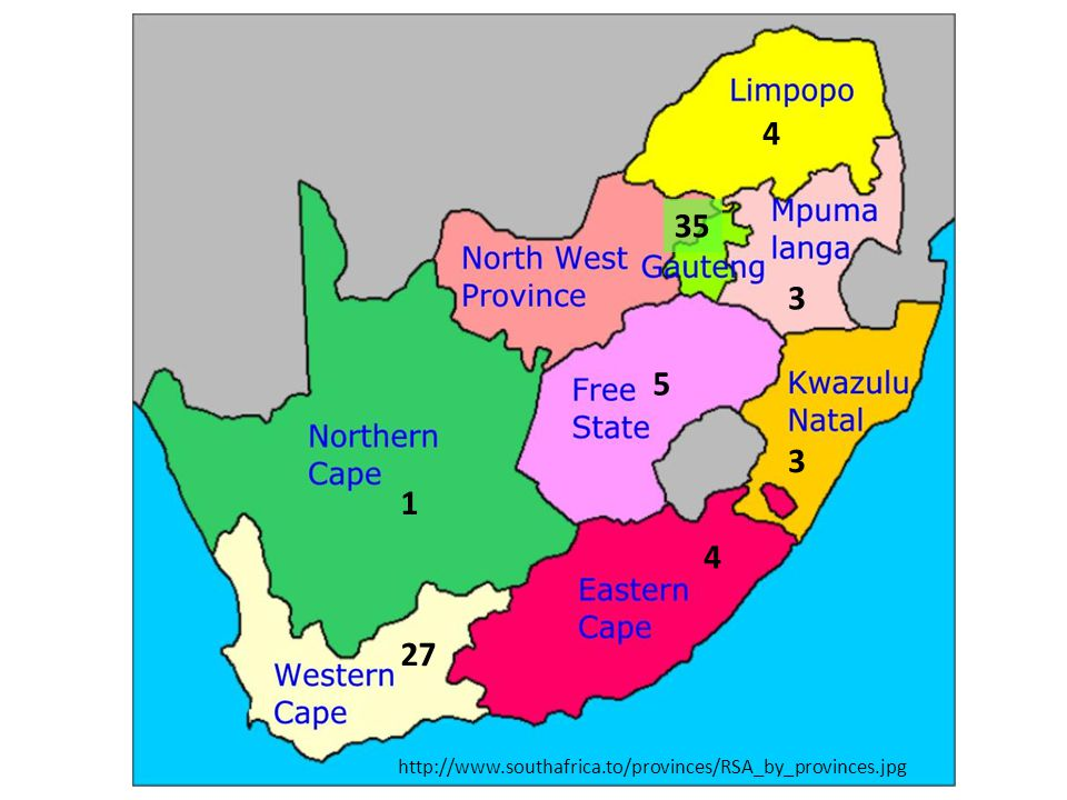 http://www.southafrica.to/provinces/RSA_by_provinces.jpg 35 5 3 4 3 1 27 4
