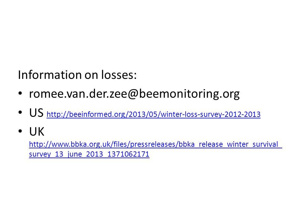 Information on losses: romee.van.der.zee@beemonitoring.org US http://beeinformed.org/2013/05/winter-loss-survey-2012-2013 http://beeinformed.org/2013/