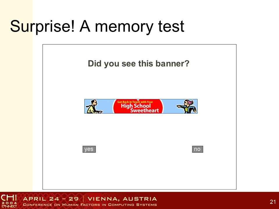 21 Surprise! A memory test
