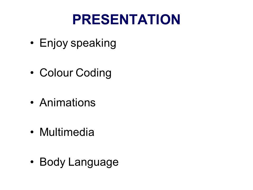PRESENTATION Enjoy speaking Colour Coding Animations Multimedia Body Language