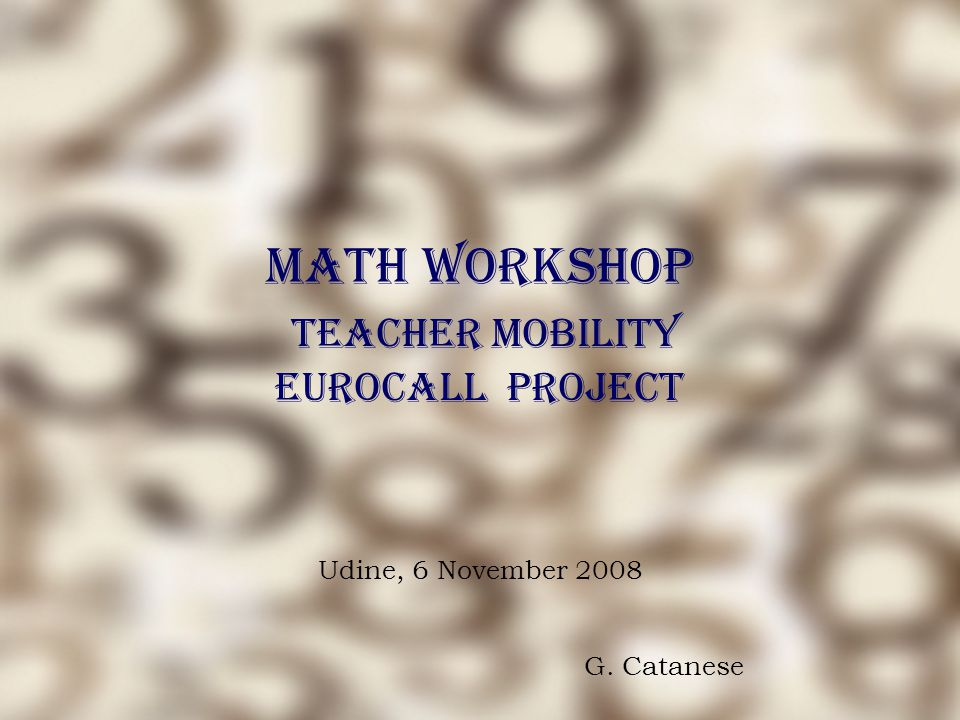 Math Workshop Teacher Mobility EUROCALL Project Udine, 6 November 2008 G. Catanese