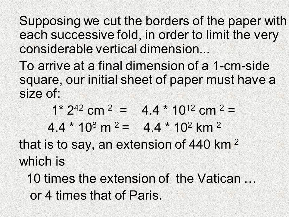 Supposing we cut the borders of the paper with each successive fold, in order to limit the very considerable vertical dimension...