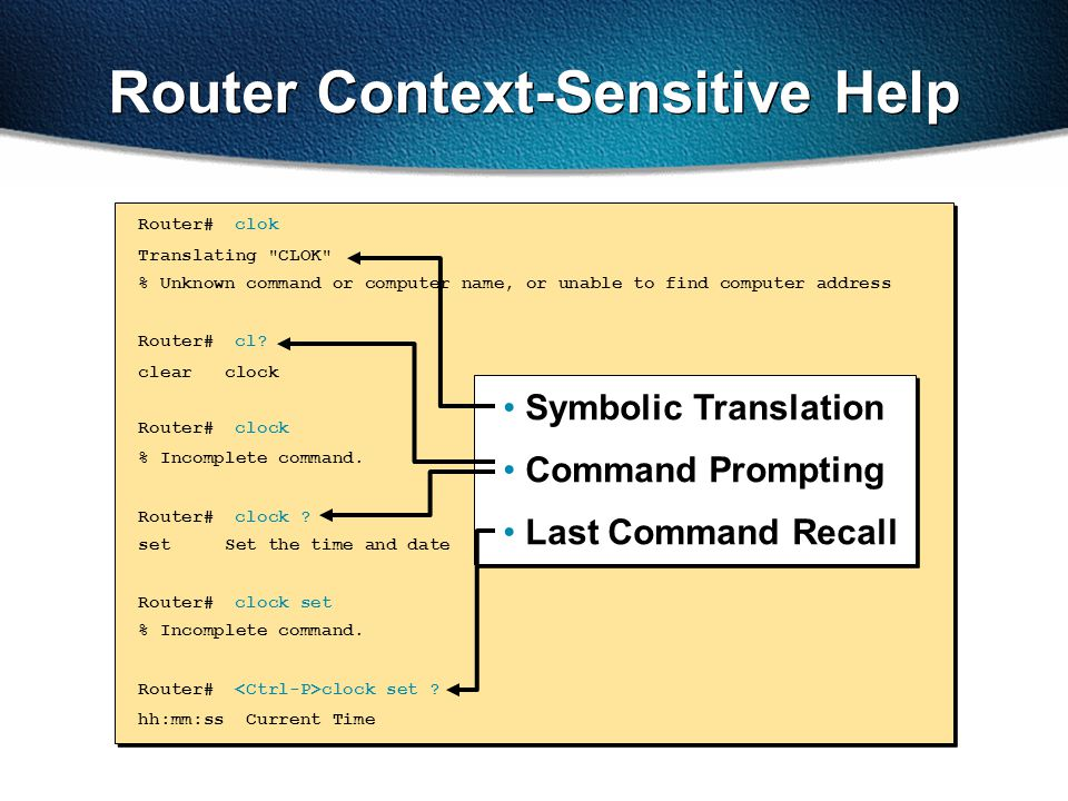 Router Context-Sensitive Help Router#clok Translating