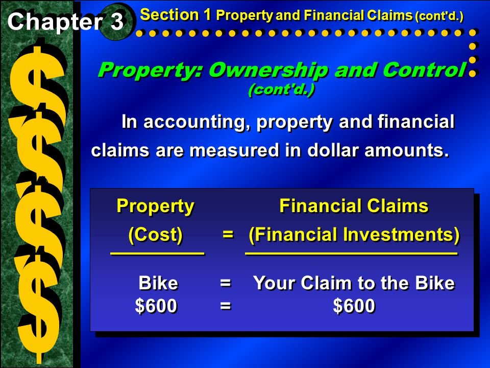Property: Ownership and Control (cont'd.) In accounting, property and financial claims are measured in dollar amounts. Property: Ownership and Control