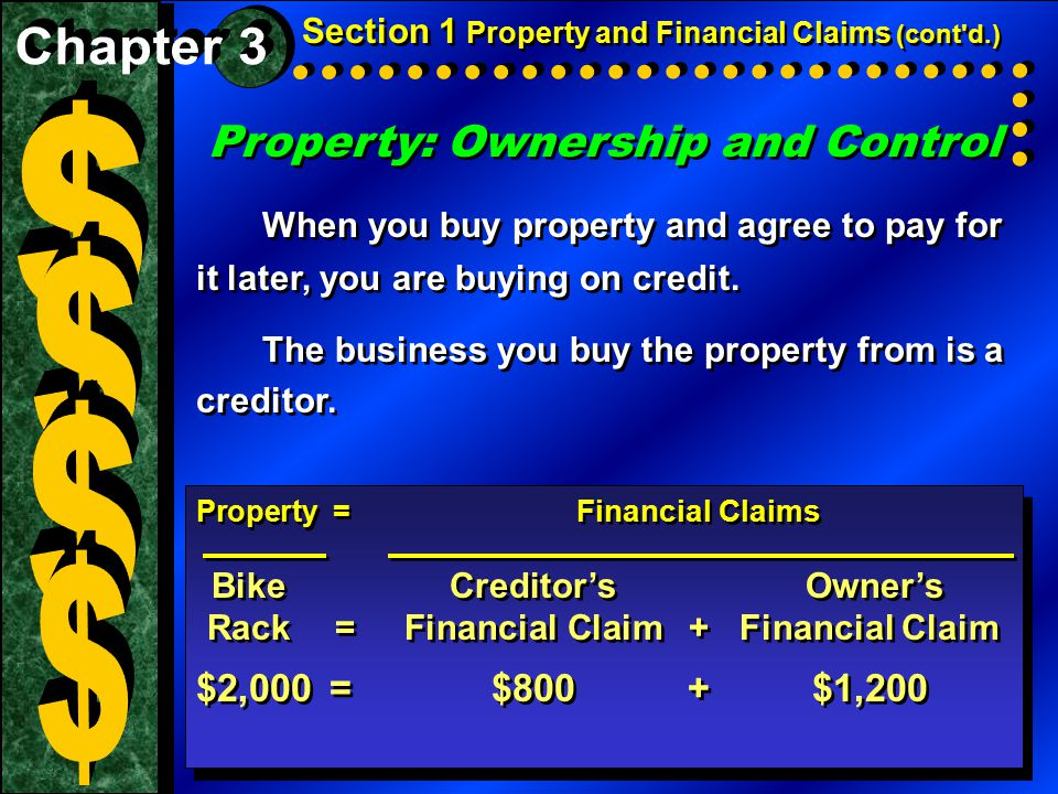 Property: Ownership and Control When you buy property and agree to pay for it later, you are buying on credit. The business you buy the property from