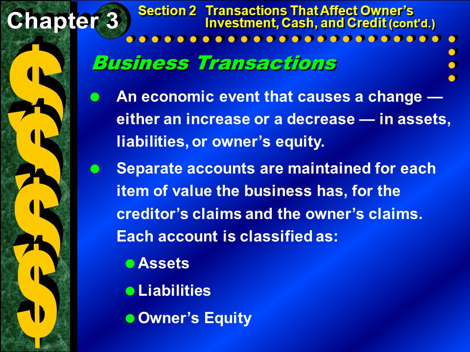 Business Transactions  An economic event that causes a change — either an increase or a decrease — in assets, liabilities, or owner's equity.  Separ