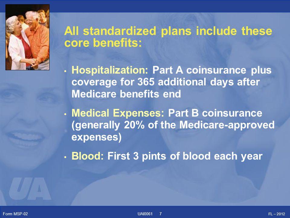 Form MSP-02 FL – 2012 UAI0061 Comparison of Benefits: United American's ProCare portfolio consists of 10 of the 11 standardized plans.