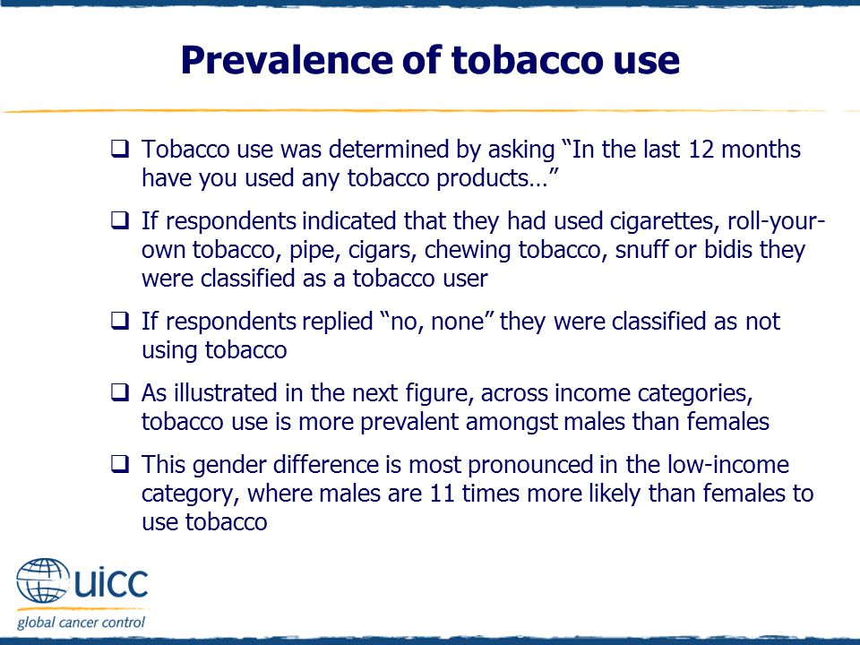 " Tobacco use was determined by asking ""In the last 12 months have you used any tobacco products…""  If respondents indicated that they had used cigar"