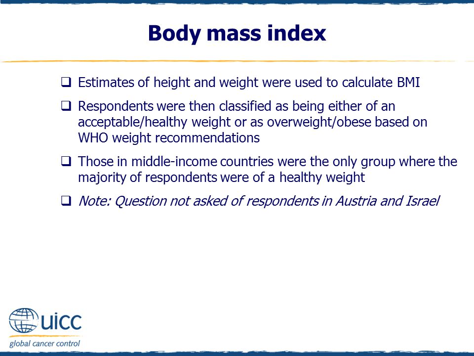 Body mass index  Estimates of height and weight were used to calculate BMI  Respondents were then classified as being either of an acceptable/healthy weight or as overweight/obese based on WHO weight recommendations  Those in middle-income countries were the only group where the majority of respondents were of a healthy weight  Note: Question not asked of respondents in Austria and Israel