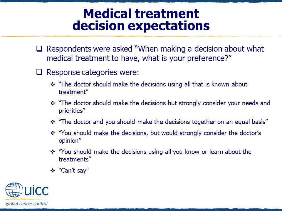 Medical treatment decision expectations  Respondents were asked When making a decision about what medical treatment to have, what is your preference?  Response categories were:  The doctor should make the decisions using all that is known about treatment  The doctor should make the decisions but strongly consider your needs and priorities  The doctor and you should make the decisions together on an equal basis  You should make the decisions, but would strongly consider the doctor's opinion  You should make the decisions using all you know or learn about the treatments  Can't say