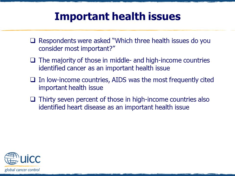 Important health issues  Respondents were asked Which three health issues do you consider most important?  The majority of those in middle- and high-income countries identified cancer as an important health issue  In low-income countries, AIDS was the most frequently cited important health issue  Thirty seven percent of those in high-income countries also identified heart disease as an important health issue