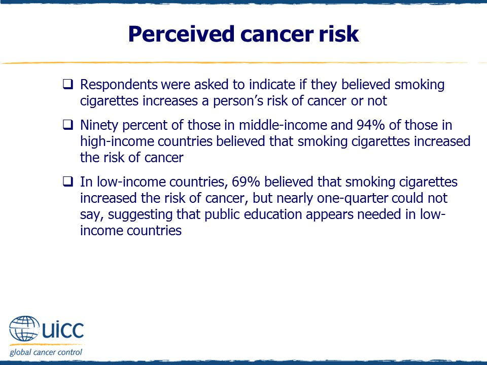 Respondents were asked to indicate if they believed smoking cigarettes increases a person's risk of cancer or not  Ninety percent of those in middl