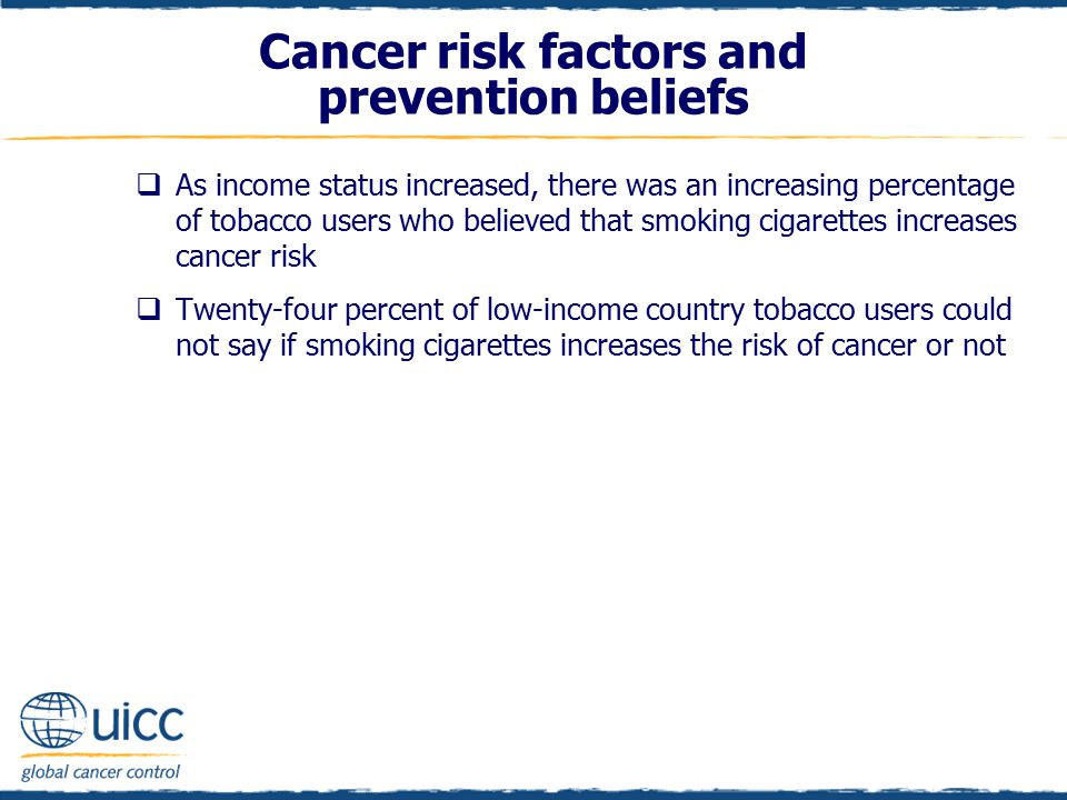  As income status increased, there was an increasing percentage of tobacco users who believed that smoking cigarettes increases cancer risk  Twenty-