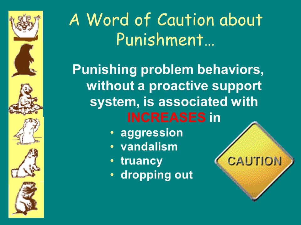 A Word of Caution about Punishment… Punishing problem behaviors, without a proactive support system, is associated with INCREASES in aggression vandal
