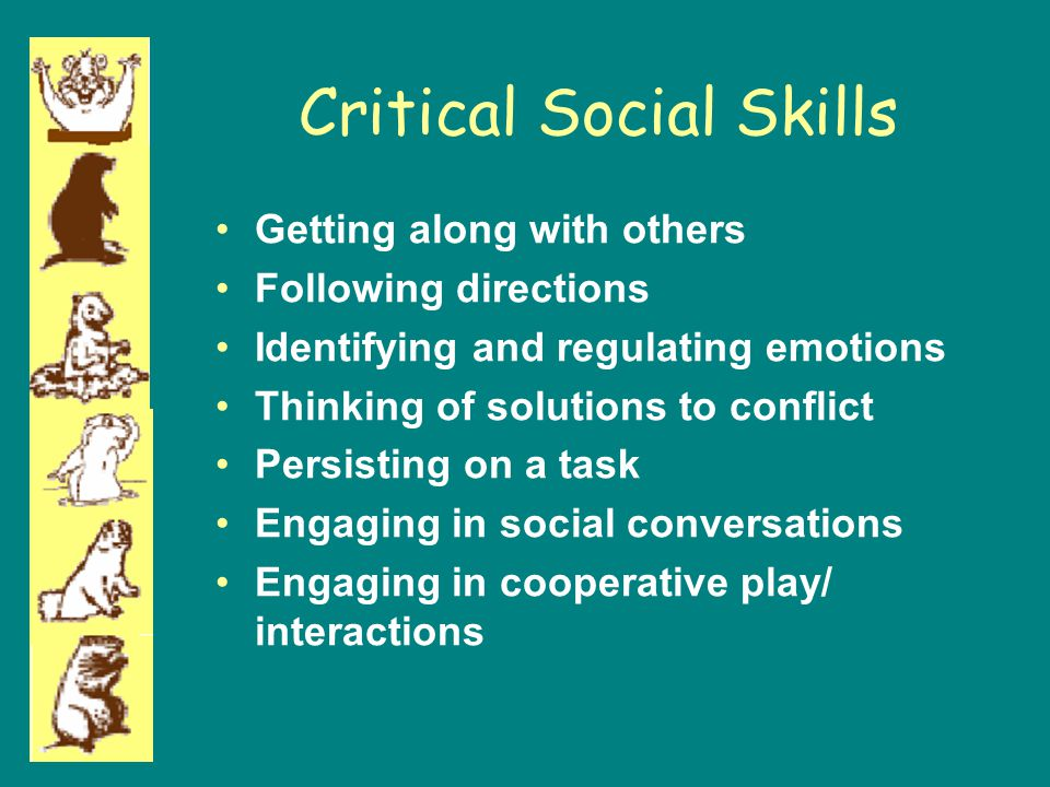 Critical Social Skills Getting along with others Following directions Identifying and regulating emotions Thinking of solutions to conflict Persisting