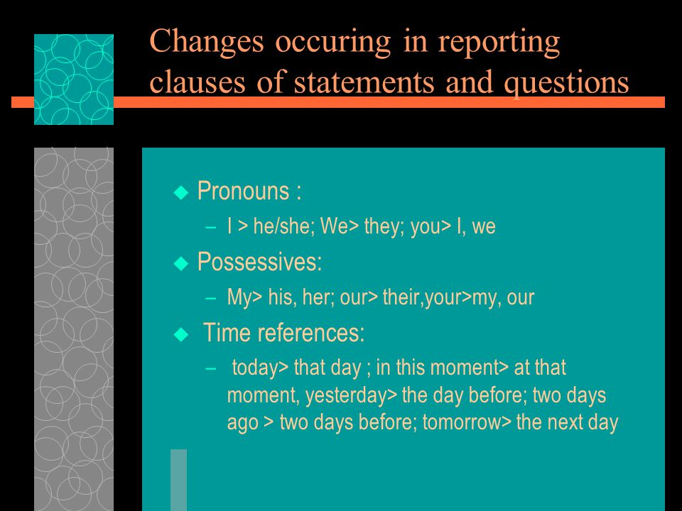 Changes occuring in reporting clauses of statements and questions  Pronouns : –I > he/she; We> they; you> I, we  Possessives: –My> his, her; our> their,your>my, our  Time references: – today> that day ; in this moment> at that moment, yesterday> the day before; two days ago > two days before; tomorrow> the next day