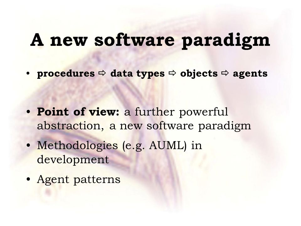 A new software paradigm procedures  data types  objects  agents Point of view: a further powerful abstraction, a new software paradigm Methodologies (e.g.