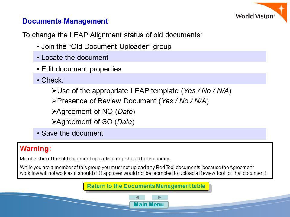 Documents Management To change the LEAP Alignment status of old documents: Join the Old Document Uploader group Locate the document Edit document properties Check:  Use of the appropriate LEAP template (Yes / No / N/A)  Presence of Review Document (Yes / No / N/A)  Agreement of NO (Date)  Agreement of SO (Date) Save the document Return to the Documents Management table Warning: Membership of the old document uploader group should be temporary.