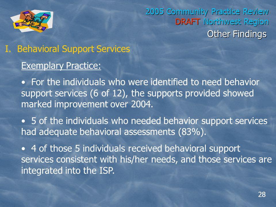 2005 Community Practice Review DRAFT Northwest Region I.