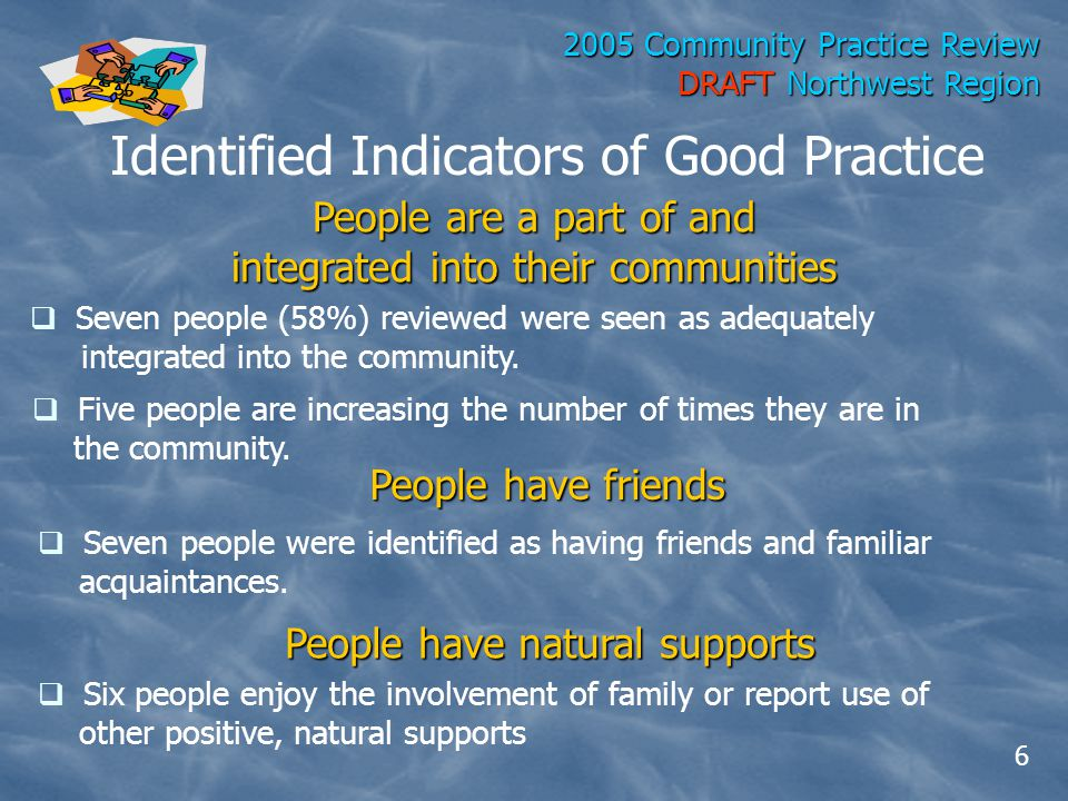 2005 Community Practice Review DRAFT Northwest Region Identified Indicators of Good Practice People have friends  Six people enjoy the involvement of family or report use of other positive, natural supports People have natural supports  Seven people were identified as having friends and familiar acquaintances.