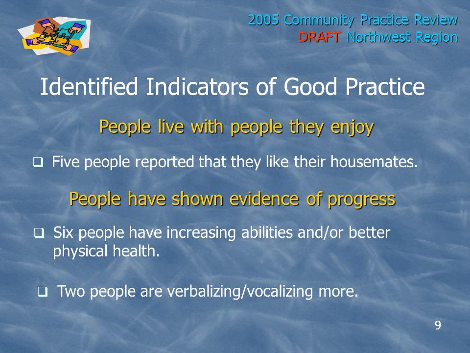 2005 Community Practice Review DRAFT Northwest Region J.