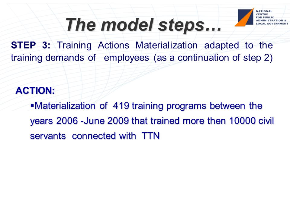 The model steps… STEP 3: Training Actions Materialization adapted to the training demands of employees (as a continuation of step 2) ACTION:  Materialization of 419 training programs between the years 2006 -June 2009 that trained more then 10000 civil servants connected with TTN