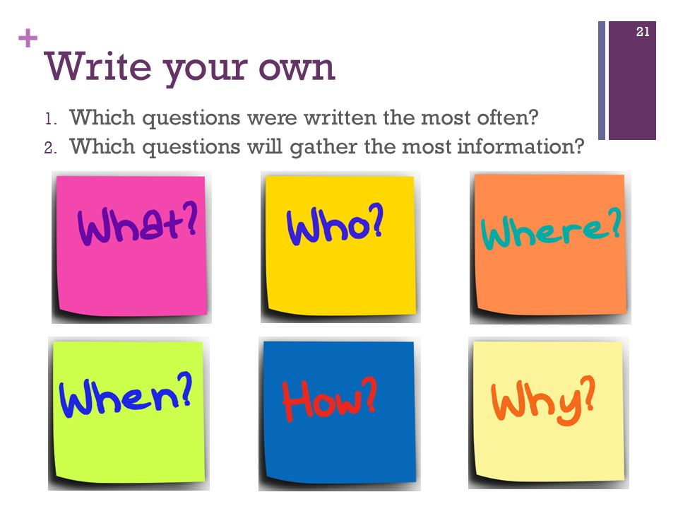 + Write your own 1. Which questions were written the most often.