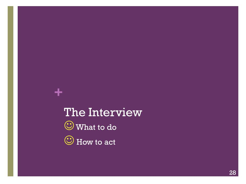 + The Interview What to do How to act 28