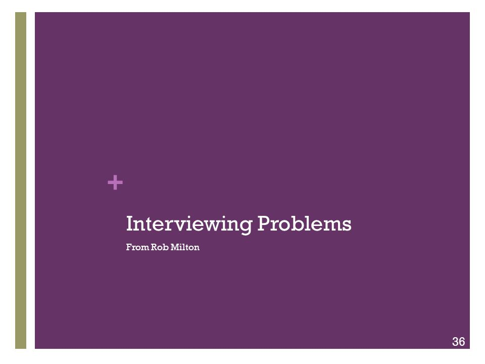 + Interviewing Problems From Rob Milton 36