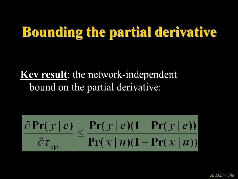 A. Darwiche Bounding the partial derivative Key result: the network-independent bound on the partial derivative:
