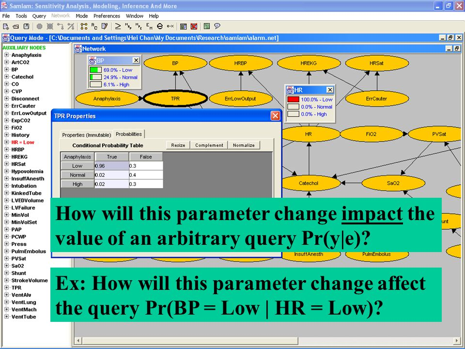 Ex: How will this parameter change affect the query Pr(BP = Low | HR = Low).