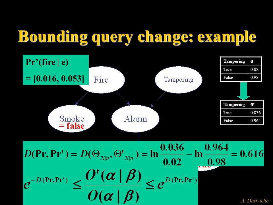 A. Darwiche Bounding query change: example Tampering  True0.02 False0.98 Tampering '' True0.036 False0.964 = false = true Pr(fire | e) = 0.029 Pr'(