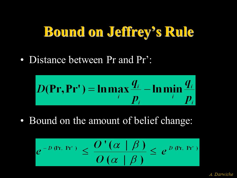 A. Darwiche Bound on Jeffrey's Rule Distance between Pr and Pr': Bound on the amount of belief change: