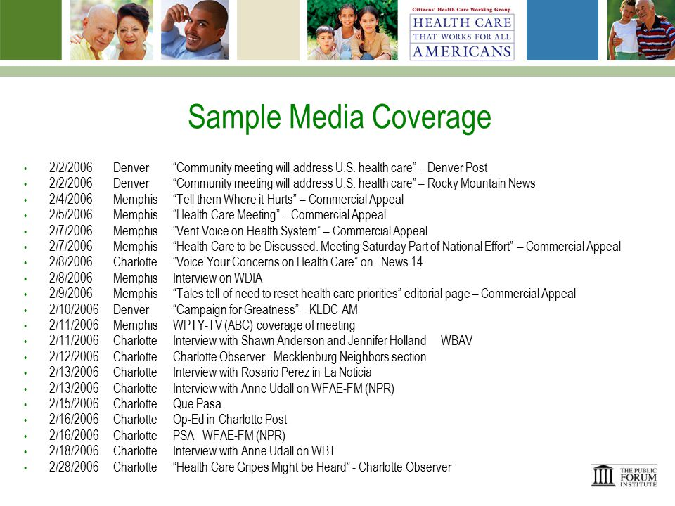 Sample Media Coverage 2/2/2006Denver Community meeting will address U.S.