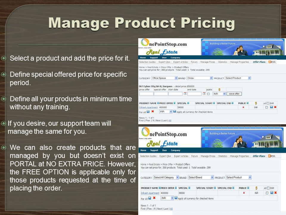  Select a product and add the price for it.  Define special offered price for specific period.